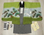 七五三 新作 5歳男の子着物フルセット◆薄緑色系 兜に龍◆ngt8364※レンタルも可