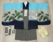 七五三 新作 5歳男の子着物フルセット◆水色系 兜に龍◆ngt8365※レンタルも可