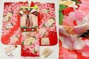 七五三 正絹7歳用女の子高級着物フルセット◆赤色系 鞠◆sdyuri027※レンタルも可