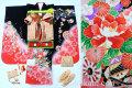 七五三 正絹7歳用女の子高級着物フルセット◆黒色 花車に桜◆sdtt007