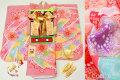 新作 七五三 正絹7歳用女の子高級着物フルセット【レインボー】◆しぼり柄 赤ピンク色系 束ね熨斗◆832※レンタルも可