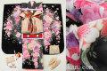 七五三 正絹7歳用女の子高級着物フルセット◆黒色系 花◆sdtt011