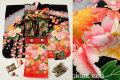 七五三 正絹7歳用女の子高級着物フルセット◆黒色系 花◆sdtt013
