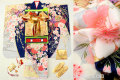 七五三 正絹7歳用女の子高級着物フルセット◆紺色系 鞠に花◆sdyuri028