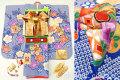 2017年新作 七五三 7歳用女の子高級着物フルセット【百日草】◆絞り柄 青色系 花に鼓◆307