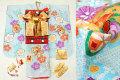 2017年新作 七五三 7歳用女の子高級着物フルセット【百日草】◆絞り柄 水色系 花に鼓◆304
