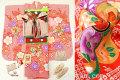 2017年新作 七五三 7歳用女の子高級着物フルセット【百日草】◆絞り柄 赤色系 花に鼓◆301