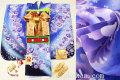 七五三 新作 7歳女子用高級着物フルセット◆紺紫色系 刺繍入り◆【矢車草】935