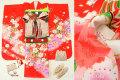 七五三 正絹7歳用女の子高級着物フルセット◆赤色 桜に花車◆sdtt9956