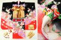 七五三 正絹7歳用女の子高級着物フルセット◆黒色 桜に花車◆sdtt9957