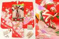 七五三 正絹7歳用女の子高級着物フルセット◆赤色系 鞠◆sdtt9966