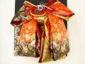 七五三やお祝着の着物に 女の子 7歳用 高級段織り 結び帯 大寸◇朱赤黒色系◇1027