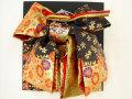 七五三やお祝着の着物に 女の子 7歳用 高級段織り 結び帯 大寸◇黒金色系◇1033