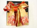 七五三やお祝着の着物に 女の子 7歳用 高級段織り 結び帯 大寸◇金朱赤色系◇1036