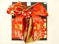七五三やお祝着の着物に 女の子 7歳用 高級段織り 結び帯 大寸◇朱赤色系◇1039