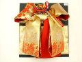 七五三やお祝着の着物に 女の子 7歳用 高級段織り 結び帯 大寸◇金色系◇1041