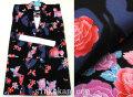 新作 女の子用 子供 変り織り浴衣(ゆかた)◇黒色系 蝶に薔薇◇【7-8歳用 120サイズ】5473