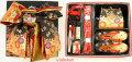 ◆高級段織り◆7歳女の子用 同柄・同色の結び帯・箱せこペアセット3010