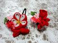 七五三 女の子用 髪飾り◆ちりめん 赤白花◆s3-1J