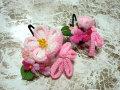 七五三 女の子用 髪飾り◆ちりめん ピンク白花◆s3-2J