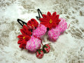 七五三 女の子用 髪飾り◆赤色 剣つまみ鹿の子に苺◆AA-1J