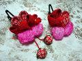七五三 女の子用 髪飾り◆赤花 鹿の子に苺◆s1-1J