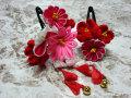 七五三 女の子用 髪飾り◆ピンク剣つまみに蝶◆ka-3J