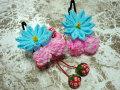 七五三 女の子用 髪飾り◆水色 剣つまみ鹿の子に苺◆AA-4J
