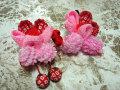 七五三 女の子用 髪飾り◆ピンク花 鹿の子に苺◆s1-2J