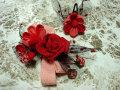 七五三 女の子用 髪飾り◆赤薔薇 チュールに苺◆kc-4J