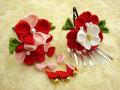 七五三 女の子用 手づくり髪飾り◆ちりめん 赤白花に蝶◆3124