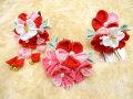 七五三 女の子用 手づくり髪飾り◆ちりめん 赤ピンク系花に白色蝶◆3128
