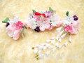 七五三 女の子用 髪飾り◆ちりめん ピンク白花◆QP200-2J