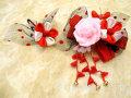 七五三 女の子用 髪飾り◆レース ピンク花に赤リボン◆QP12-6J