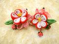 七五三 女の子用 髪飾り◆ちりめん 赤白花に小苺◆QP2-4J