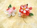 七五三 女の子用 髪飾り◆ちりめん 赤白花に小苺◆QP4-6J