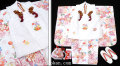 七五三 新作【夢】 国内産 3歳女の子着物(被布コート)セット◆白色系 乱菊◆905