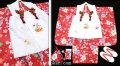 七五三 新作【夢】 国内産 3歳女の子着物(被布コート)セット◆赤色系 桜◆906