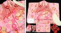 七五三 新作 3歳女の子被布コートセット(ファー付き)◆赤ピンク系/ピンク系 しぼり柄 鞠に桜◆hana1F1