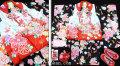 七五三 新作 正絹3歳女の子着物(被布コート)セット【蘭】◆白赤色系/黒色系 鞠に扇◆427