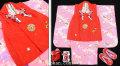 七五三 新作 正絹3歳女の子 高級着物(被布コート)セット【輝】◆赤色系/ピンク系 鞠に桜◆374