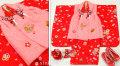 七五三 新作 正絹3歳女の子 高級着物(被布コート)セット【輝】◆ピンク系/赤色系 鞠に桜◆378