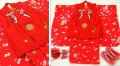七五三 新作 正絹3歳女の子 高級着物(被布コート)セット【輝】◆赤色系 鞠に桜◆377