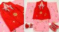 七五三 新作 正絹3歳女の子 高級着物(被布コート)セット【輝】◆赤色系/ピンク系 鞠に桜◆380
