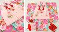 七五三 新作 3歳女の子着物(被布コート)セット◆水色系 雪輪に花◆sd5886