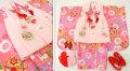 七五三 新作 3歳女の子着物(被布コート)セット◆ピンク紫色系 雪輪に花◆sd5887