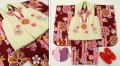 七五三 新作 3歳女の子着物(被布コート)セット◆エンジ系 矢絣に花◆sd5892