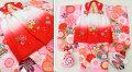 七五三 新作 3歳女の子着物(被布コート)セット【星】◆白赤/ピンク 鞠に大花◆132