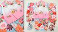 七五三 新作 3歳女の子着物(被布コート)セット【星】◆白ピンク/水色系 鞠に大花◆134