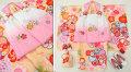 七五三 新作 3歳女の子着物(被布コート)セット【星】◆白ピンク/黄色系 絞り柄 大花◆139